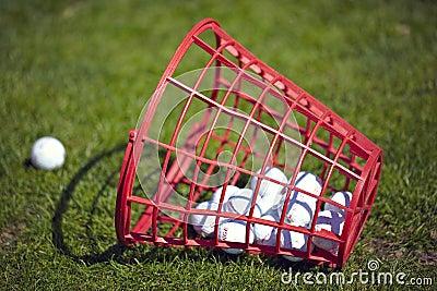 Golf balls bucket on driving range