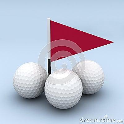 Golf Balls And Flag