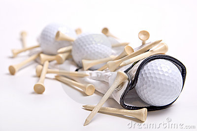 Golf Balls on Golf Glove with Tees