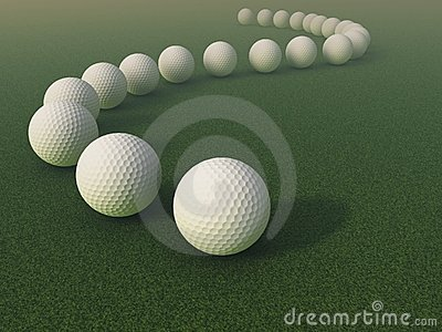 Golf balls on the grass