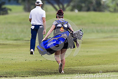 Golf Caddie Woman Editorial Stock Photo