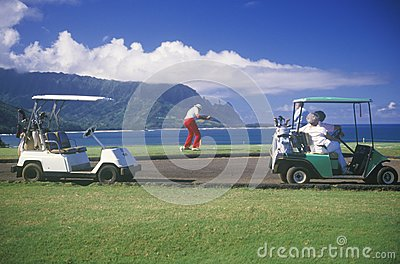 Golf Caddies and carts Editorial Photography