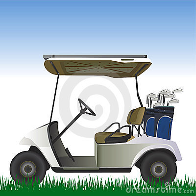 Free Golf Cart In The Field Vector Stock Photo - 5242340