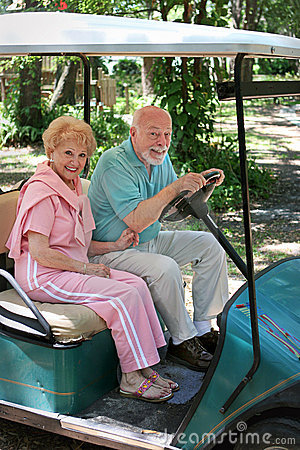 Free Golf Cart - Seniors Stock Photo - 822330