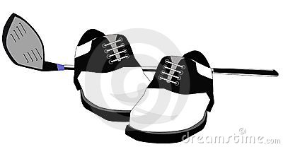 Golf club and golf shoes illustration