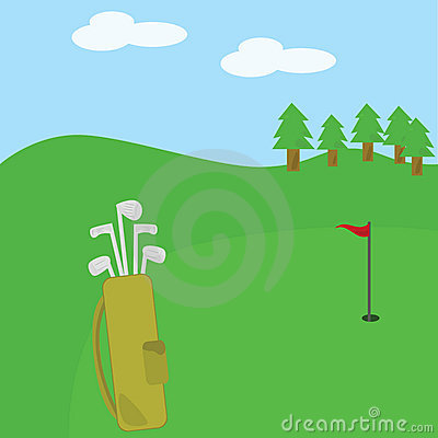 Golf clubs and bag on the course