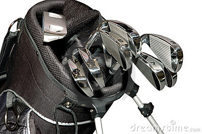 Golf-clubs in a bag isolated