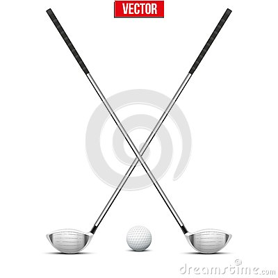 Golf clubs and ball. Sport symbol. Vector Illustration on white ... Golf Ball On Tee Clipart