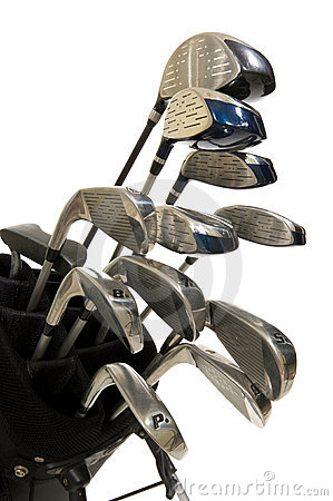 Golf Clubs on white