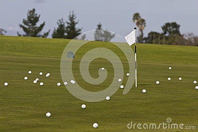 Golf course chipping green with flag