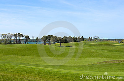 Golf course, country club overlooking ocean