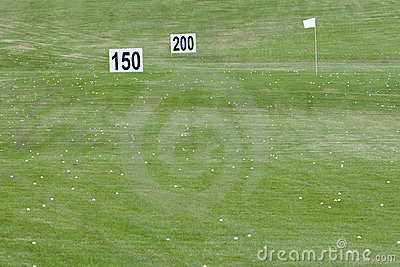 Golf course with distance signs