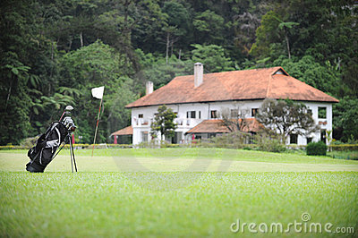 Golf course and Europe style house