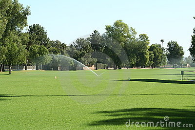 Golf course fairway with irrigation.