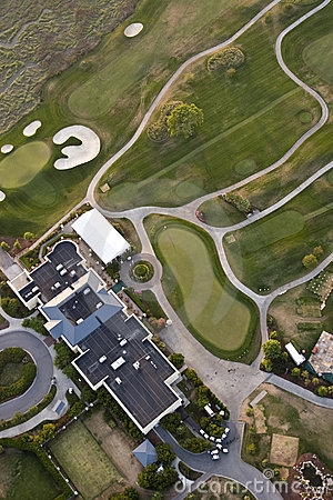 Golf course and hotel, aerial