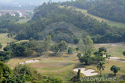 A  golf course in mountain