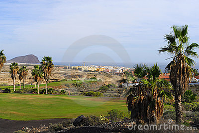 Golf course with ocean view