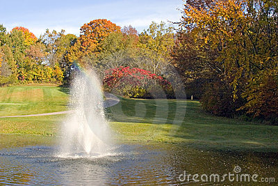 Golf Course Pond And Fountain