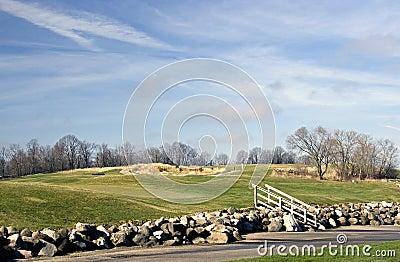 Golf Course Rock Retaining Wall