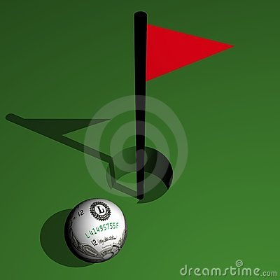 Golf, dollar ball at hole with a tag