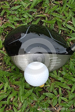 Golf driver and ball viewed from top