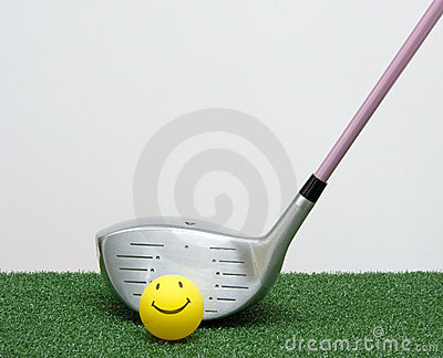 Golf Driver With Happy Face Ball