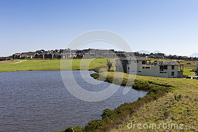 Golf estate with large dam and houses