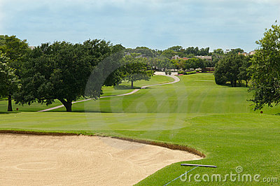 Golf fairway and sand bunker