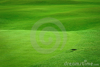 Golf field with a ball hole