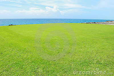 Golf field on a shore