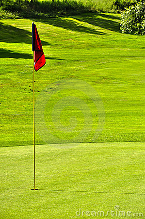 Golf field withred flag hole and forest background