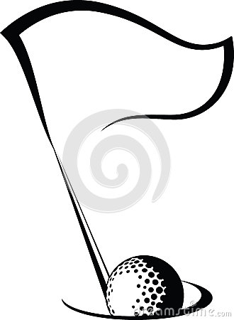 Golf Flag with Ball in Hole