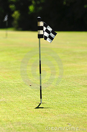 Golf flag on court