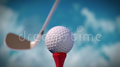 Golf Hit. Computer generated close-up wide-angle view of golf hit. Full HD stock video footage