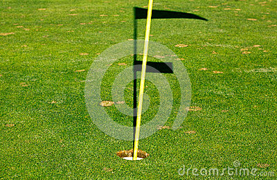 Golf hole on a green with hole stock and shadow of the flag