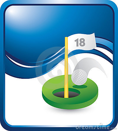 Free Golf Hole In One On Vertical Blue Wave Backdrop Stock Photos - 10954043