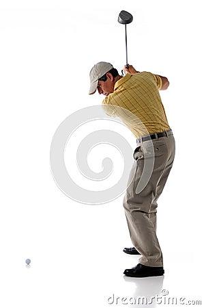 Golf Player Hitting Ball