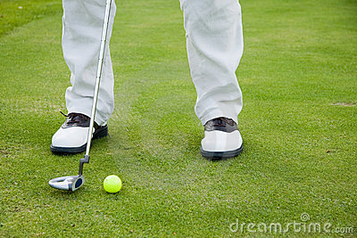Golf player in shoes