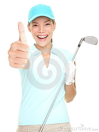 Golf player success woman smiling