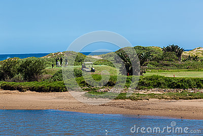 Golf Players Tee-Box Links Hole Editorial Stock Image