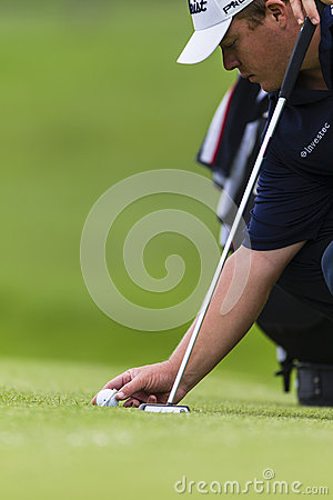 Golf Pro Ball Placing Editorial Stock Photo