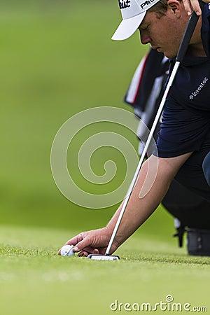 Golf Pro Ball Placing Editorial Stock Photo