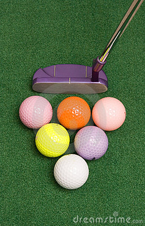 Free Golf Putter And Colored Balls Stock Image - 8163841
