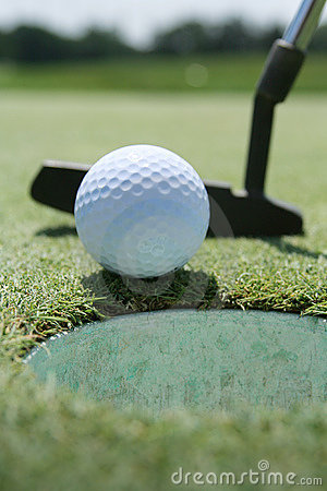 Free Golf Putter, Ball And Green Stock Image - 3026481