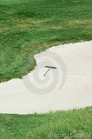 Free Golf Rake In A Sand Trap Royalty Free Stock Image - 6268756