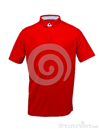 Free Golf Red  Tee Shirt  With White Collar On  White Background Stock Images - 89062034
