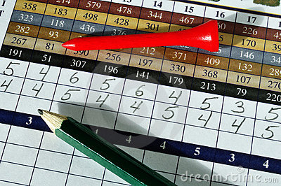 Golf Score Card with Red Tee and Green Pencil