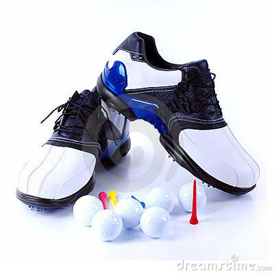 Free Golf Shoes And Balls Stock Photography - 9045702