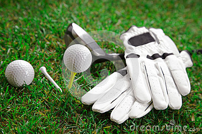 Golf sport equipment set on field