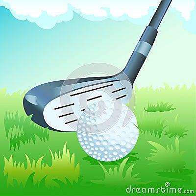 Golf stick and ball